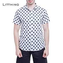 Litthing Men Short Sleeve Shirt Mens Casual Shirt Turn Down Collar Male Summer Social Hawaiian Clothes High Quality(China)