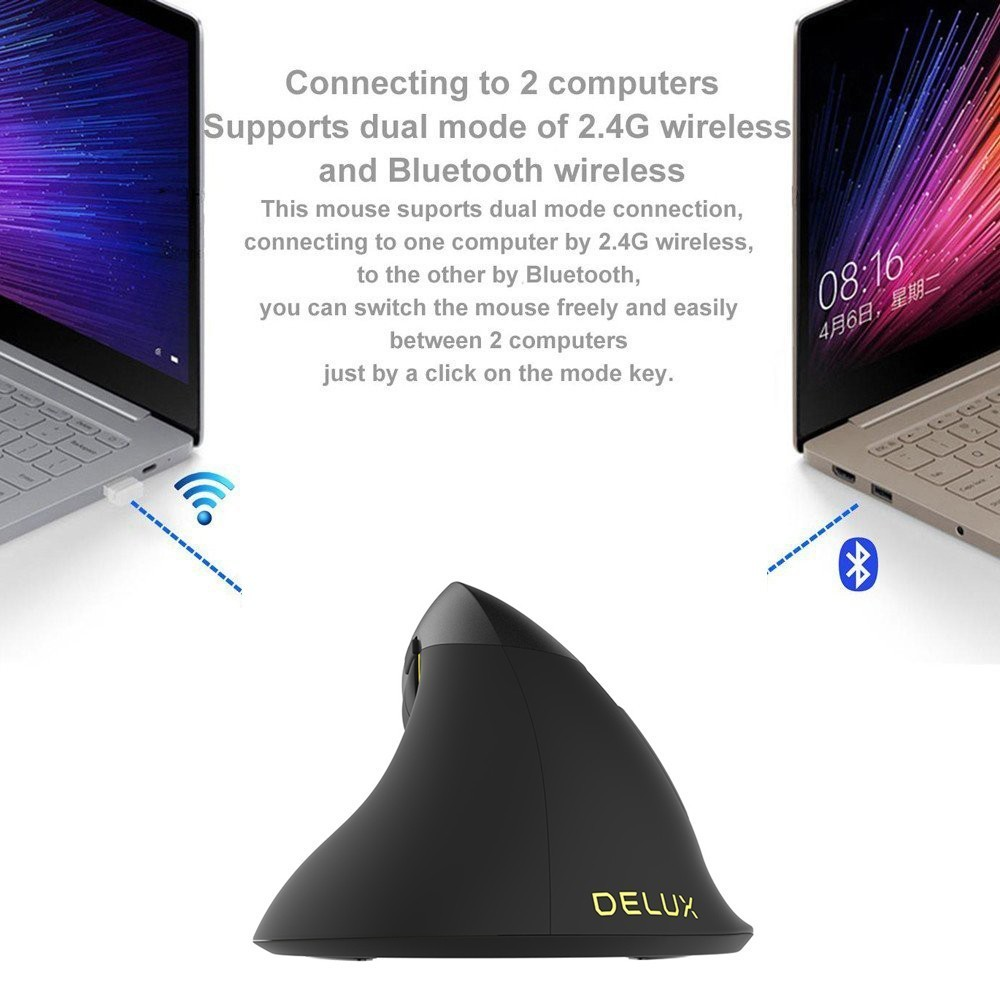 Delux M618 Mini souris sans fil 2.4 Ghz + Bluetooth 4.0 Rechargeable 2400 DPI RGB souris verticale souris ergonomique pour PC portable - 5