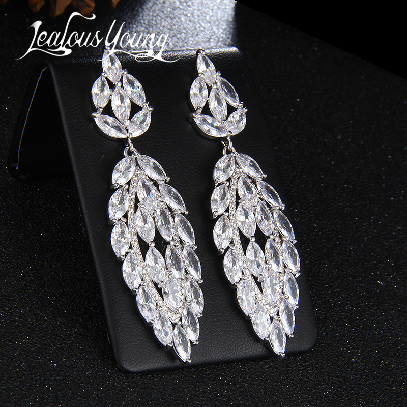 Luxury Marquise CZ Drop Earrings For Women Vintage Leaf Design Crystal Long Earings Inlay Zircon Bridal Earrings AE357 vintage leaf water drop earrings