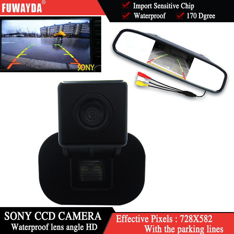Fuwayda Цвет Sony CCD чип вид сзади автомобиля Камера для Kia Forte/Hyundai Verna Solaris Седан + 4.3 дюймов зеркало заднего вида Мониторы