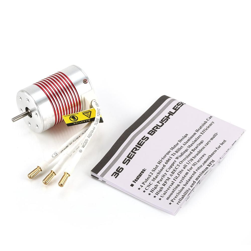 Image 5 - SURPASSHOBBY Platinum Waterproof Series 3650 3100KV 3500KV 3900KV 4300KV 5200KV Sensorless Brushless Motor for 1/10 RC Car Truck-in Parts & Accessories from Toys & Hobbies