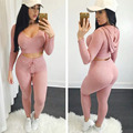 Women Suit Set Casual Crop Tops Hoodies Sweatshirts Hooded Tops Pants Two Pieces Sets Suits Tracksuits Plus Size