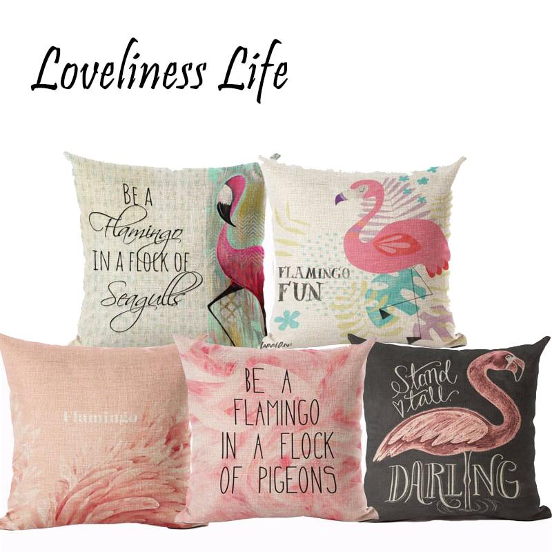 Nordic Geometric Deer Home Decor Cushion Cover Flamingos Linen Cotton Pillow Cove Decorative Throw Pillows Pillowcase Almofadas