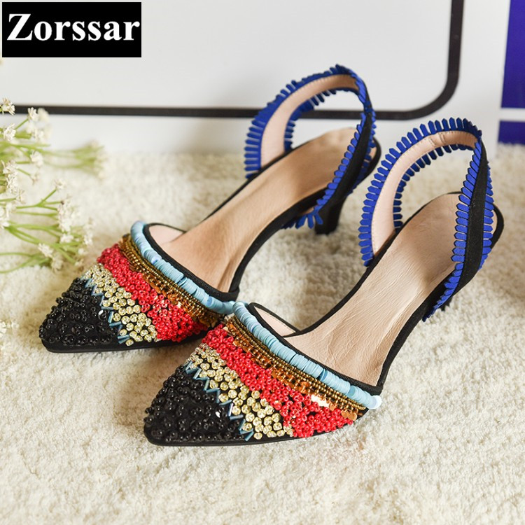 Summer Shoes Woman rhinestone High heels pointed toe sandals women platform shoes 2017 NEW Fashion Ethnic style womens heels plus size 2017 new summer suede women shoes pointed toe high heels sandals woman work shoes fashion flowers womens heels pumps