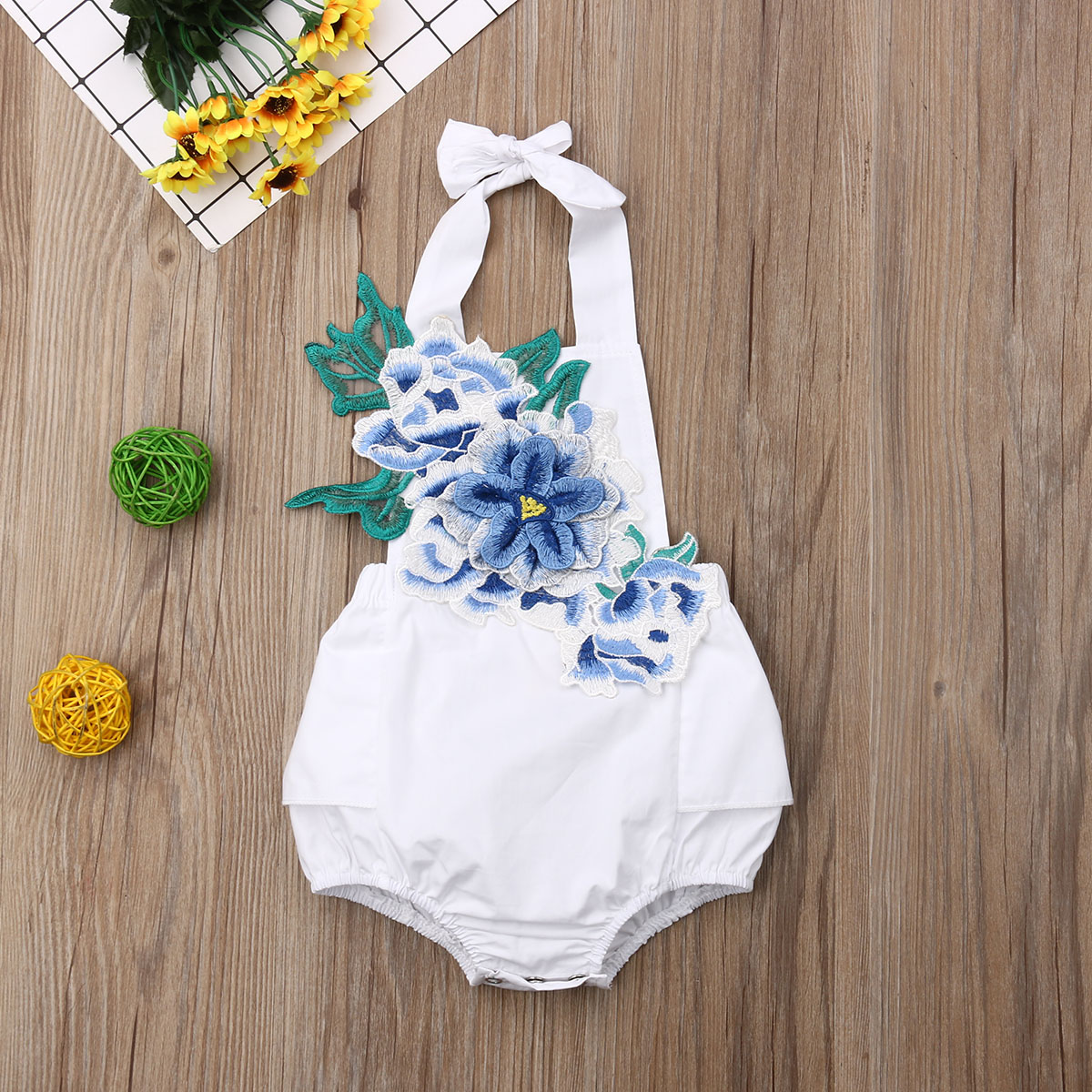 Newest Fashion Newborn Cute Baby Girl Sleeveless Floral Orchid Embroidery White Backless Jumpsuit Bodysuit Sunsuit 3-24Months