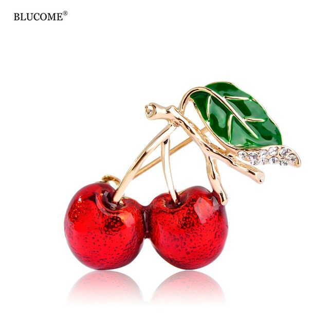 Red Enamel Gold-color Sweet Cherry Brooch Pin Up Women Dress Blouse Cardigan Clip Pins Decoration Bijouterie Female Broches
