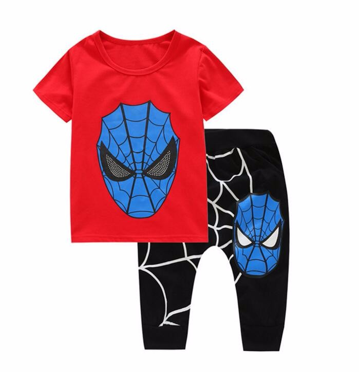 2017 Spiderman Children Boys Sport Suit 4-10Years Kids Clothing Set Spider Man Baby Boys Clothes Set Summer Tracksuits For Boy