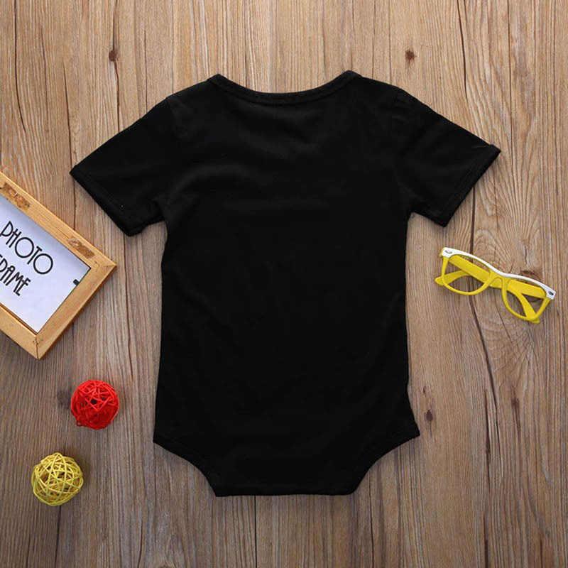 Новинка, черный комбинезон с буквенным принтом для новорожденных девочек и мальчиков от 0 до 24 месяцев Детский хлопковый комбинезон, одна еденица одежды