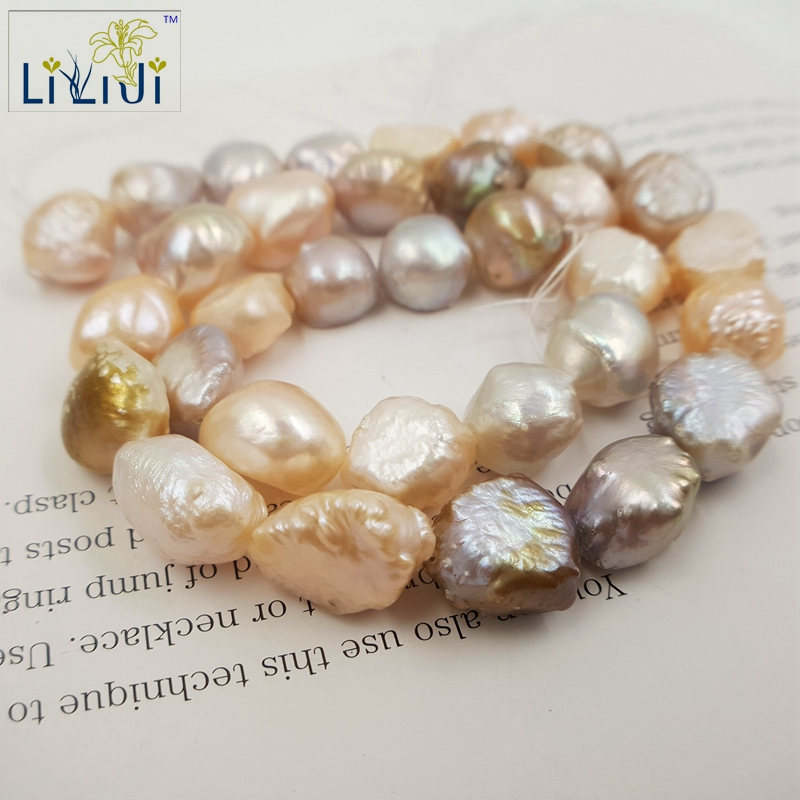 Lii Ji Mix Color Freshwater Pearl beads 10 11mm Irregular shape Loose Beads for DIY about 38cm