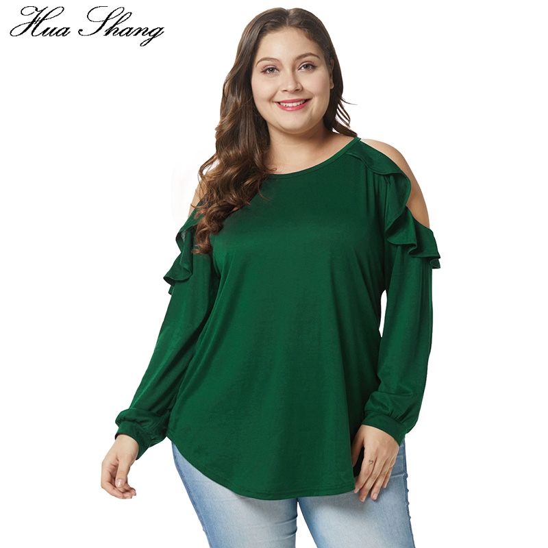 91665ea193767d Detail Feedback Questions about Cold Shoulder Women Blouse Elegant Ruffles  Long Sleeve Tunic Tops Green Plus Size Women O Neck Loose Oversized Blouse  Shirt ...