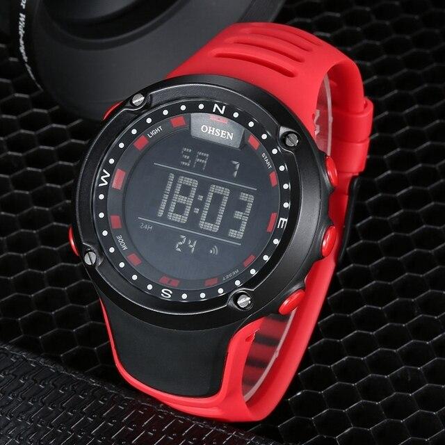 OHSEN nuevo LED digital de moda reloj de pulsera para hombre Regalos correa  de caucho rojo dbaf46a06926