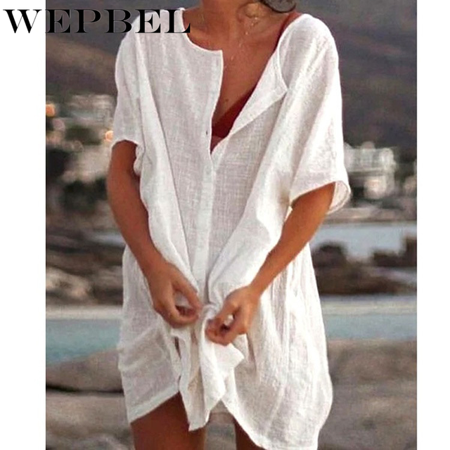 WEPBEL Womens Fashion Summer Short Sleeve Long Blouses Casual Loose Solid Color Plus Size Beach Wear Cover-up Short Linen Blouse 5
