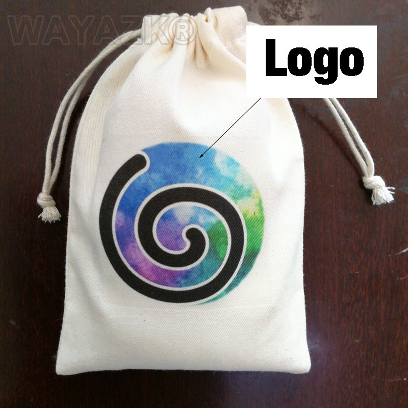 100pcs lot Peronlized made cotton drawstring pouch gift bag with custom logo printed