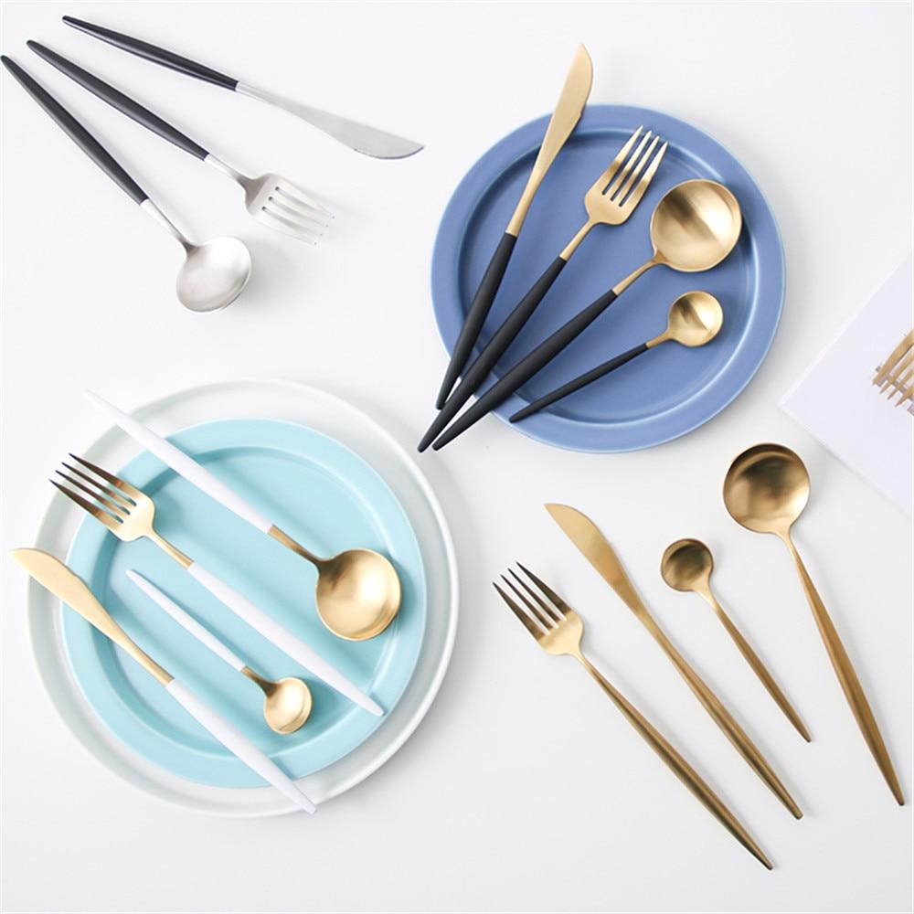 Luxury 304 Stainless Steel Tableware Set Matte Rose Gold European Western Food Dinnerware Sets Knife Forks Spoons Cutleries 4pcs