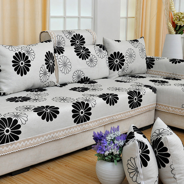 Europe Style Flocked Sofa Cover Cotton Linen Fl Four Seasons Wedding Decoration Couch Covers Set Sectional