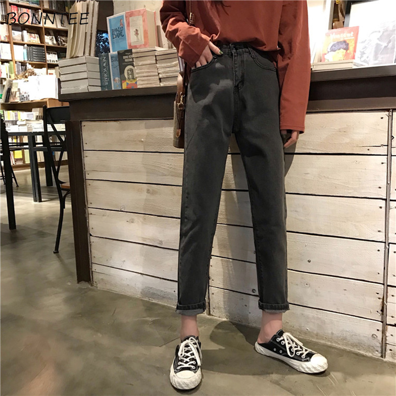 Jeans Women 2019 Solid High Waist Straight Leisure Ankle-length Jean Korean Style All-match Womens Simple Trendy Student Chic