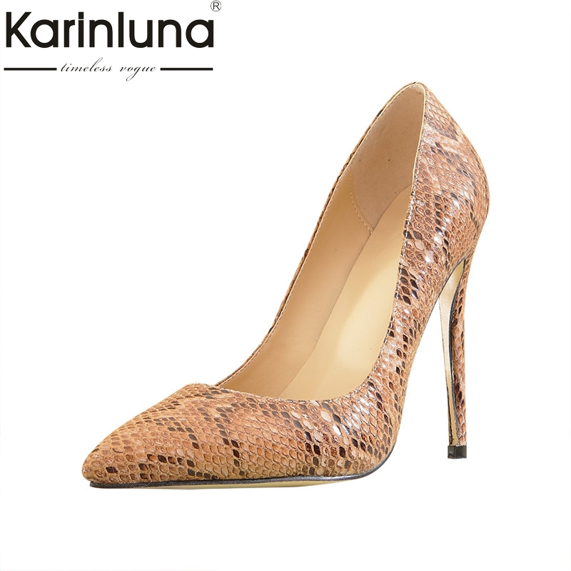 Karinluna Sexy Women's Printed Snakeskin Pointed Toe High Heel Shoes Woman Party Wedding Brand Pumps Big Size 33-43 doratasia embroidery big size 33 43 pointed toe women shoes woman sexy thin high heels brand pumps party nightclub