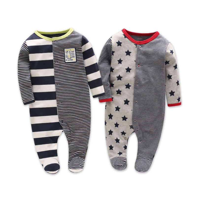 Picturesque Childhood Official Store 2-1 2018 new born boy footies cotton long sleeve 3-12M ...