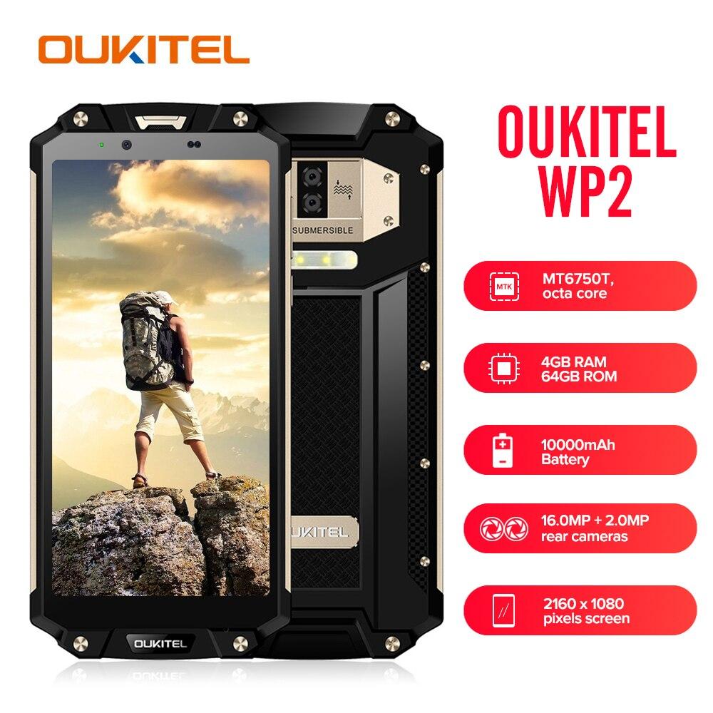 OUKITEL WP2 IP68 Étanche Mobile Téléphone 4 GB 64 GB MT6750T Octa Core 6.0 18:9 D'empreintes Digitales Smartphone Poussière Choc preuve 10000 mAh