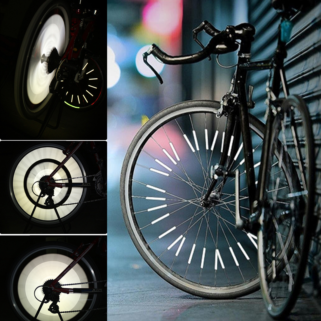 12pcs Cycling Wheel Spoke Reflector Bike Bicycle Reflective Mount Clip Tube Set