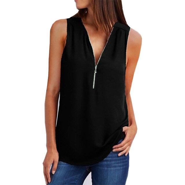 2019 T shirt women New V-neck zipper sleeveless loose chiffon shirt casual hot selling tshirt womens tops vestidos YFF6196