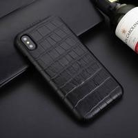 עבור iPhone מקרה טלפון X נרתיק עור מקורית של תנין באיכות גבוהה כריכה אחורית עבור iPhone X טלפון נייד אבזרים אנטי-לדפוק