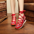 Embroidered Women Chinese Style Travel Old Beijing 5cm Wedges Ankle Wrap Medium Heels Lace Shoes Ladies Platforms Canvas