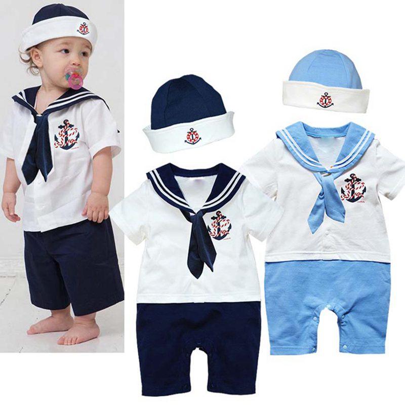 все цены на  Cute Sailor Baby Boy Clothes One Piece Jumpsuits Hats Bebes Boys Suit Infant Clothing Sets Vetement Bebe Garcon Roupa Infantil  онлайн