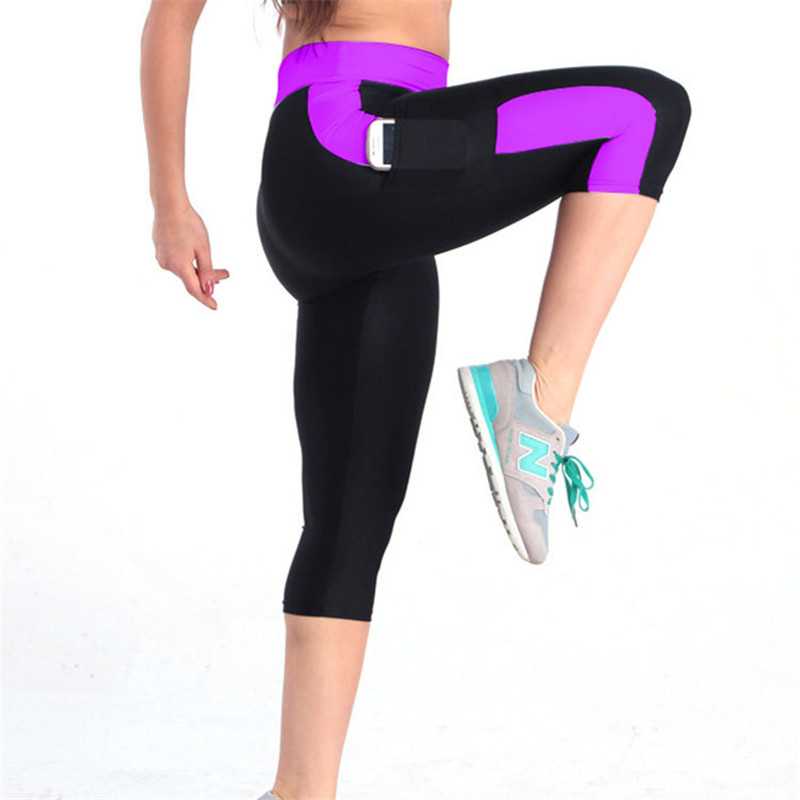 2019 Women Sexy Side Striped Leggings Fitness Capri Pocket Pants Reflective Leggins Slim Workout Quick-dry Plus Size Trousers