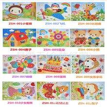 5pcs/lot Lovely Sticky EVA Sticker rhinestone Design DIY Children Toddlers  Educational Art Funny Toy Knowledge Hobbies Interest
