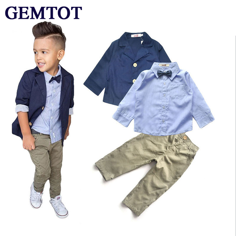 MESOLO 2017 Boys Clothing Gentleman Sets Handsome Denim Children Jacket + Shirt + Pants 3pcs/set Kids Baby Children Suits