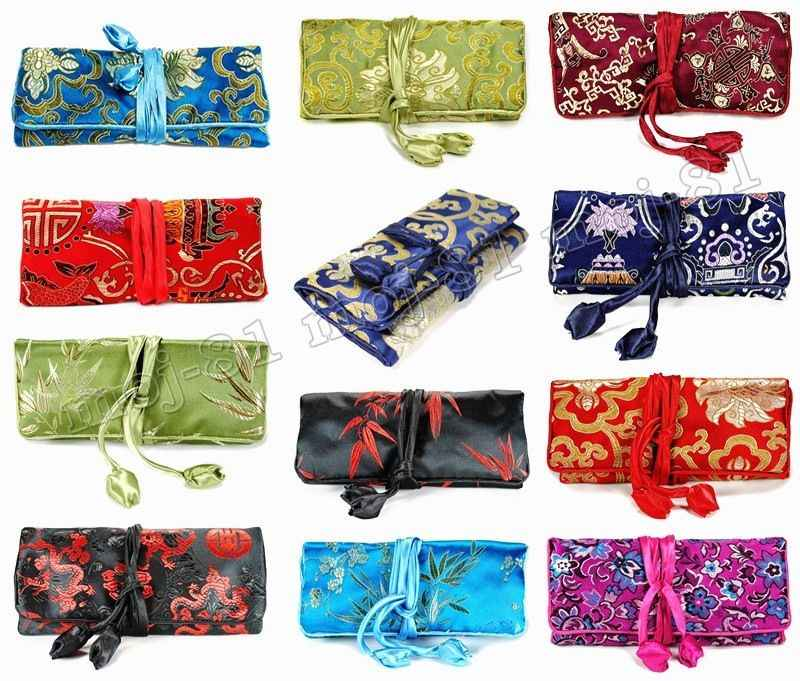 Wholesale SILK JEWELRY TRAVEL BAG Mixed Brocade Fabric Roll Pouch Carrying Case 10PCS  Color random