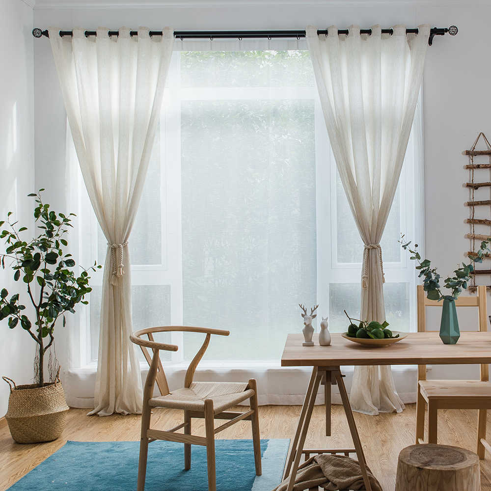 Single Panels Solid Linen Curtains Tulle Living Room Decoration American  Style Rustic Kitchen Curtains Sheers