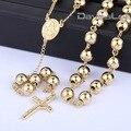 4 / 6 / 8 / 10 mm Mens cadeia Gold Tone Stainless Steel Bead cadeia rosário Jesus cristo pingente cruz longo Necklacce DLKN368-371