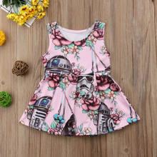 Bebê recém-nascido meninas vestido star wars sem mangas festa princesa tutu vestido de verão roupas