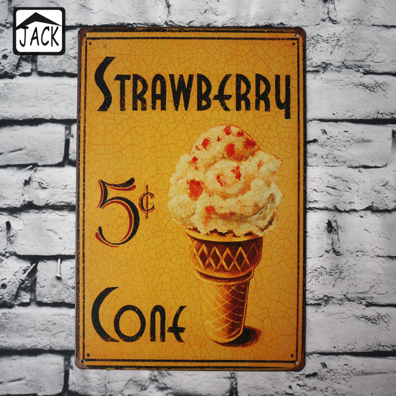 Antique Cream Wood Metal Wall Decor: Strawberry Ice Cream Metal Tin Sign 20X30CM Iron Plate
