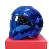 MASEI 610 Electroplate Blue Chrome Plating IRONMAN Iron Man Helmet Motorcycle Helmet Half Open Face Helmet
