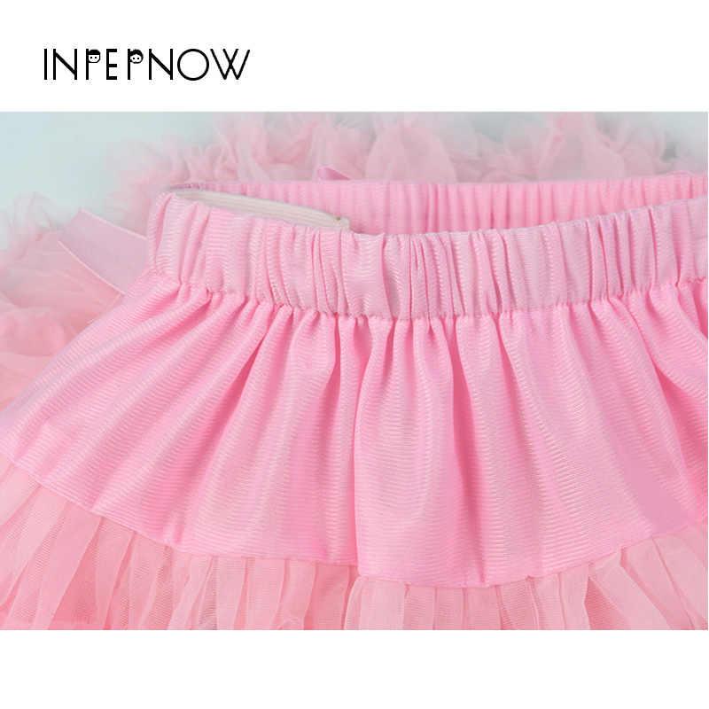 INPEPNOW krótki spódnica Tutu dla dziewczynek siatki puszyste księżniczka dla dzieci dla dzieci balet Pettiskirt spódniczki dziewczęce frędzle Drop shipping BSQ-CZX1