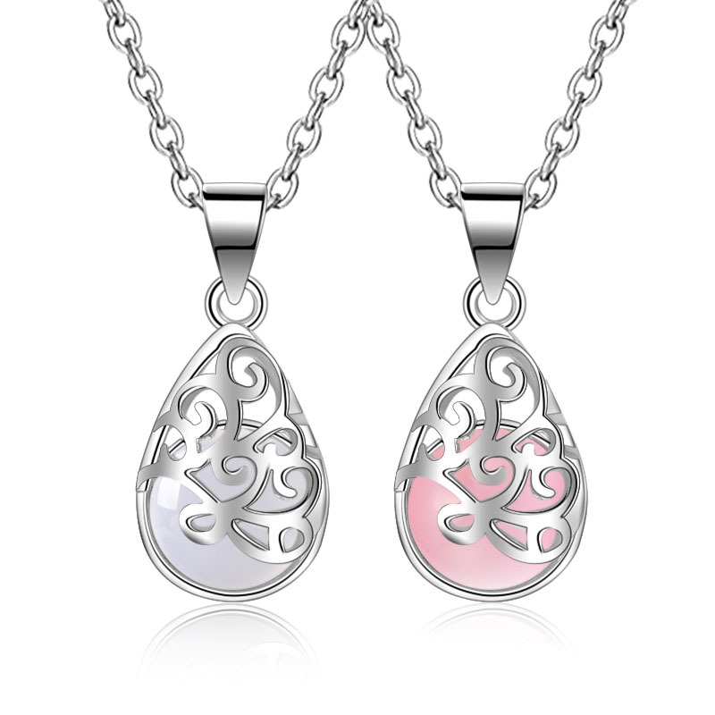Hot Sale Promotion 2017 New Fashion Moonlight Opals Design 925 Sterling Silver Pendant Necklaces for Women Jewelry Gift