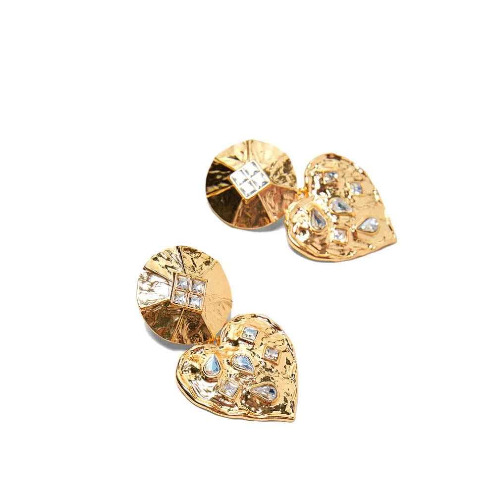 Flatfoosie Fashion New Golden Drop Earrings For Women Round Heart Square Crystal Punk Dangle Earring Trendy Party Jewelry 2018
