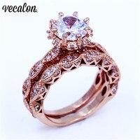 Vecalon Винтажные Ювелирные изделия женский набор колец 3ct фианит AAAAA однотонный цвет розовое золото 925 Серебряное кольцо на свадебный юбилей д