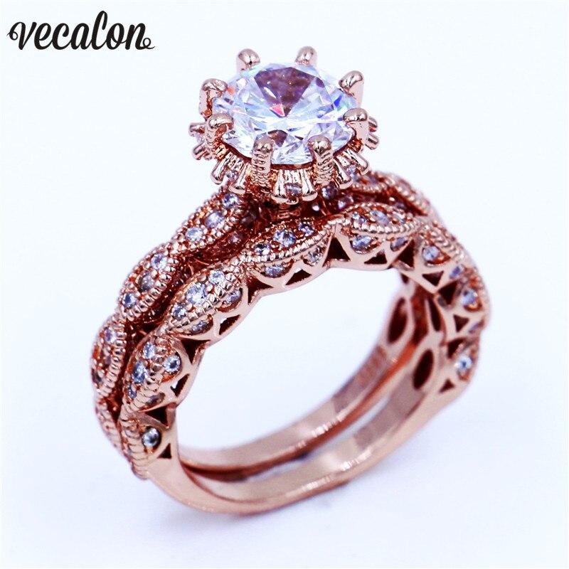 Vecalon Jóias Vintage set Mulheres anel 3ct AAAAA zircão Cz Rose Gold Filled 925 Bodas de prata anel de casamento para as mulheres homens
