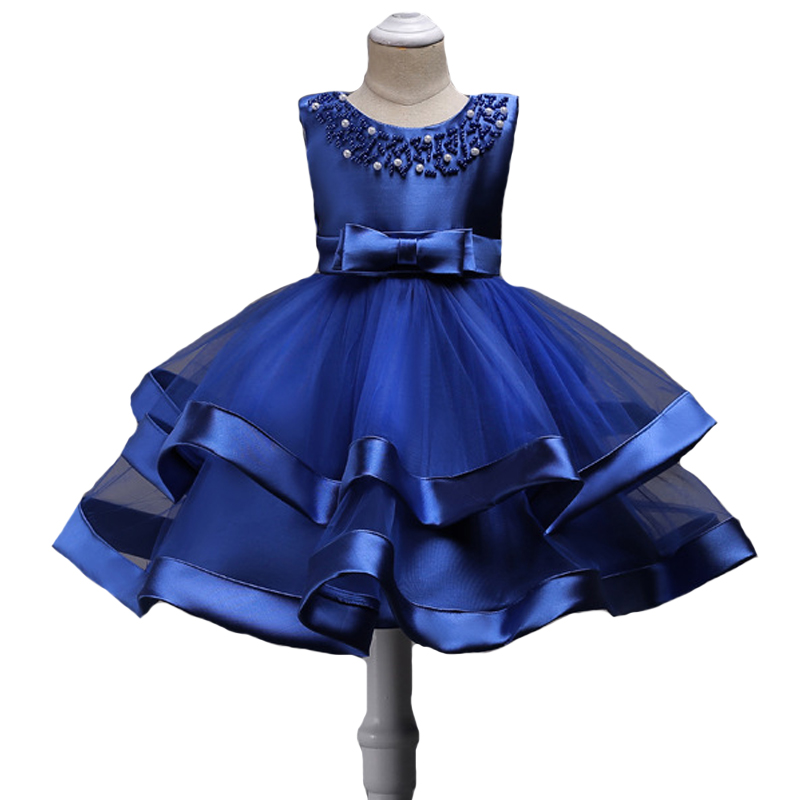 Brand Quality Girls Princess Dress Kids Beading toddlers Gils Formal Dress Layeder Children Ball Gown Flower Girl Dress Clothes ...