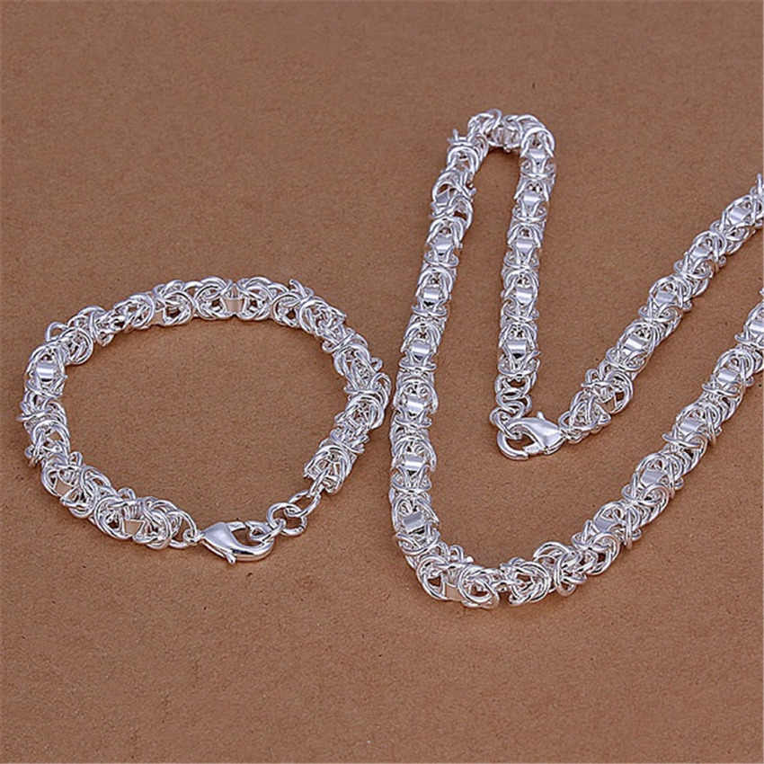 Christmas gift Pretty wedding  silver color  fashion men women classic party chain necklace bracelet jewelry Set S29