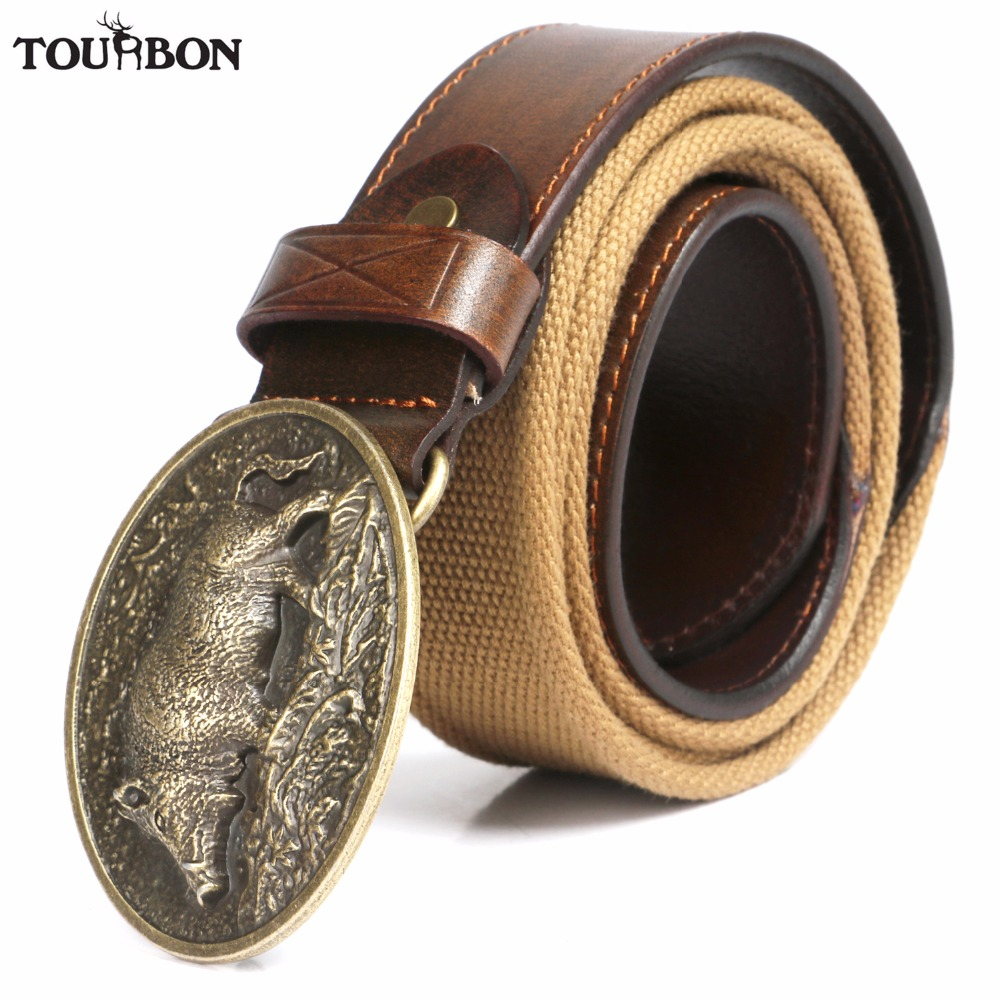 Tourbon Hunting Vintage Genuine Leather Waist Belt for Men Canvas Gun Strap Adjusted Length 108-118cm tourbon tactical rifle gun sling with swivels shotgun carrying shoulder strap black genuine leather belt length adjustable