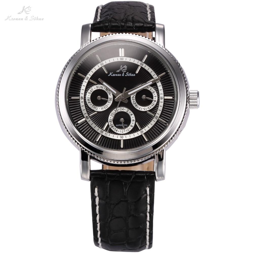 ФОТО KS Luxury Brand  Automatic 6 Hands Date 24 Hour Display Leather Male Clock Self Wind Mechanical Men Fashion Casual Watch /KS247