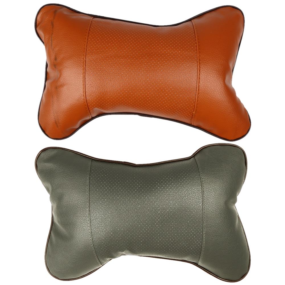 Pvc leather car headrest pillow hole digging neck pillow memory foam car head neck rest cushion car styling 2 color