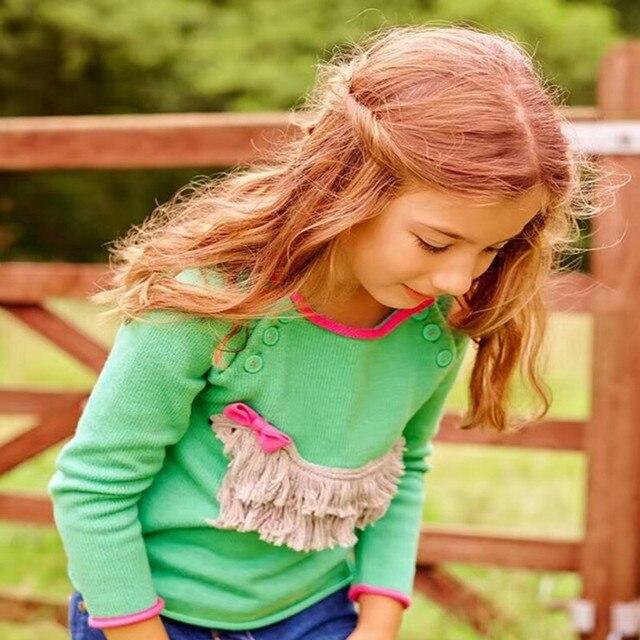 Новые новорожденных девочек свитер кисточкой луки собака дети свитера осень хлопок малыша дети одежда для девочек трикотаж