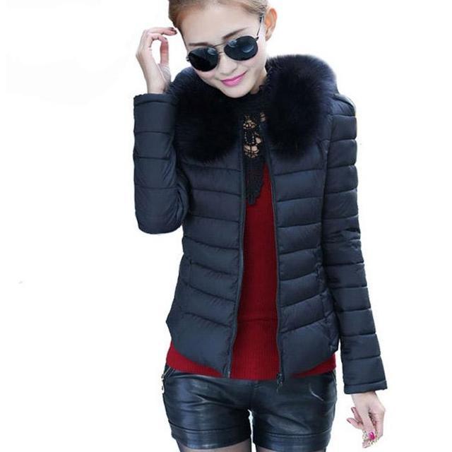 NEW 2016 Women Jacket Autumn And Winter Fashion Fur Collar Down Jacket For Woman Slim Warm Parka Plus Size