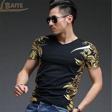 TBAIYE Bronzing Casual Kurzarm V-ausschnitt T-shirt Männer Luxus marke 2017 Slim Baumwolle Gedruckt männer T shirts Kleidung Größe M-4XL